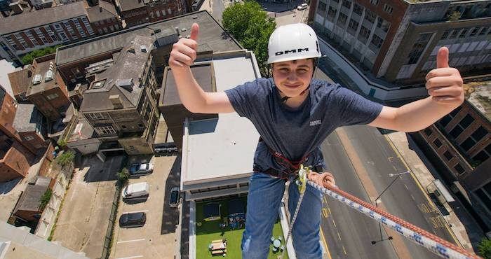 Abseiling from City Centre Building