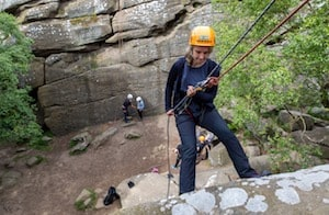 Trying abseiling