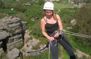 Abseiler at Brimham Rocks