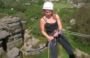 Abseiler at Brimham Rocks