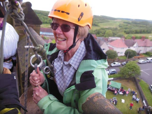 Abseiling off a church spire