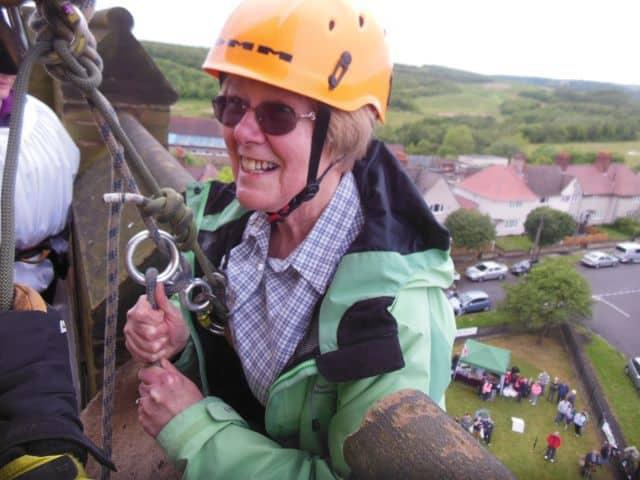 Abseiling off a church spire