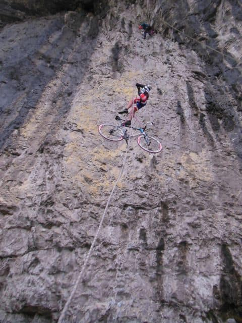 Abseiling with bicycle