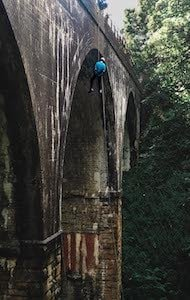 Abseiling from a viaduct