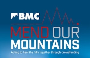 Mend Our Mountains logo in association with the British Mountaineering Council