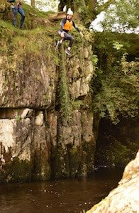Gorge Walking Big Jump in the Western Yorkshire Dales