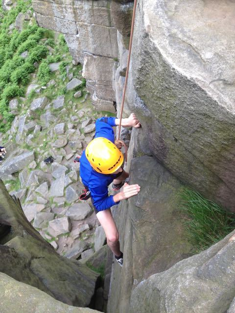 Boy-Top-Rope-Climbing-Peak-District-Stanage-Edge