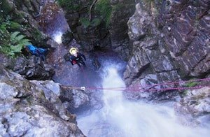 Climbing a water fall in the Yorkshire Dales