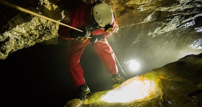 Abseiling-into-Derbyshire-Cave