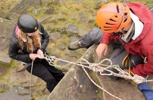 Charity Abseil Johnny Dawes at Stanage Edge