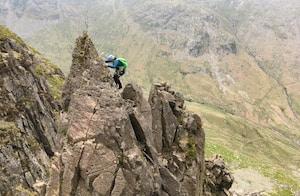 Army recruit climbing on ridge in Lake District