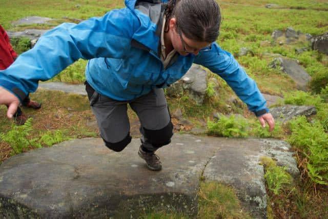Sarah climbing no handed