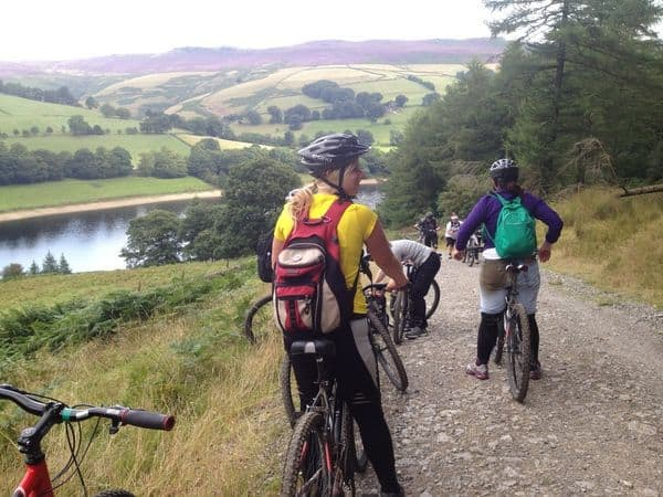 Girls biking in the Peak District