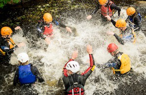 Gorge walking business team activity