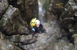 Scrambling up a gorge in Yorkshire