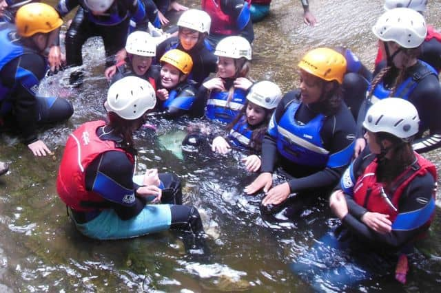 Gorge walking school group