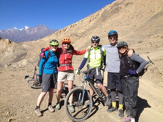 Group-Mountain-Bikers-Nepal-Dirt-Path