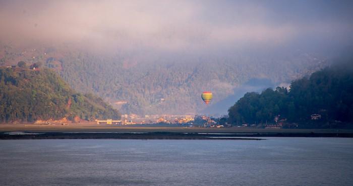 Hot air balloon at Phewa Lake in Pokhara