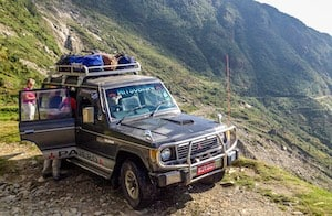 Driving to the start of the Langtang Trek