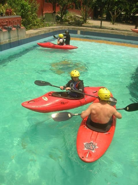 Kayak practice in the swimming pool