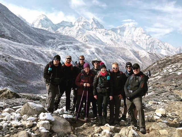 Large group on Everest Base Camp trekking tour