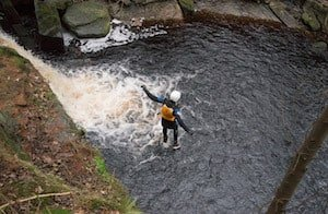 scrambling up a gorge