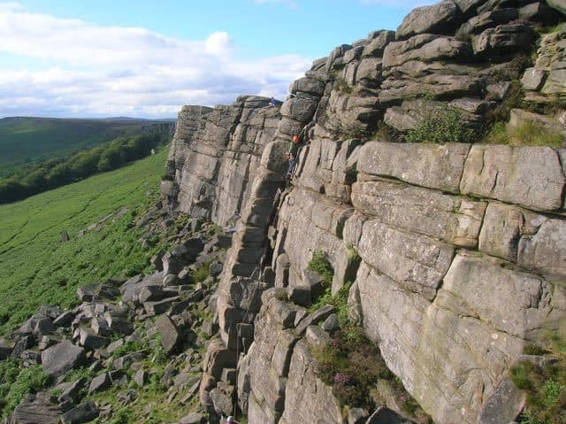 Man-Lead-Climbing-Peak-District-Stanage