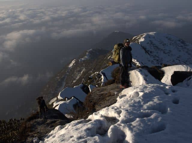 Man-Trekking-Makalu-Peak-Clouds