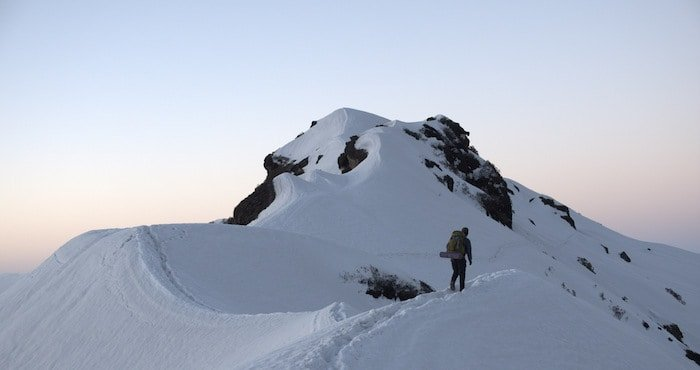 Man Trekking Makalu Peak Sunrise