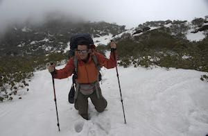 Man Trekking Snow Makalu