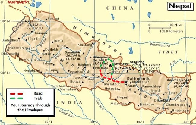 Map of Manaslu