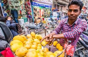 Fruit seller in Kathmandu on the Everest Base Camp trek