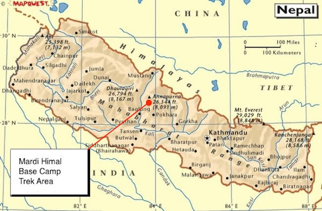 Mardi Himal Location