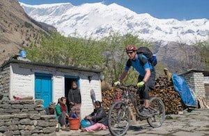 Tukuche Peak and Biker