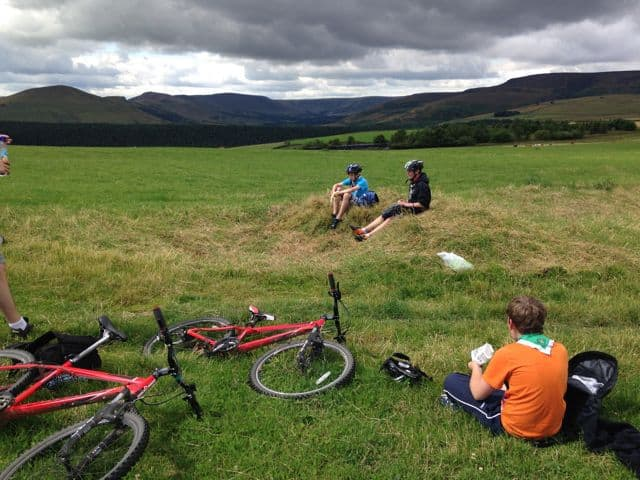 Mountain biking with scouts in the Peak District