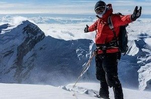 Nepal Mountaineering Instructor on top of a mountain