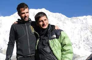 Dipak, trekking guide with client