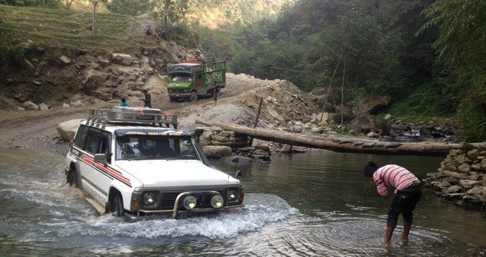 Nissan Patrol Crossing River in Nepal