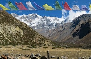 Prayer flags flying in mountains