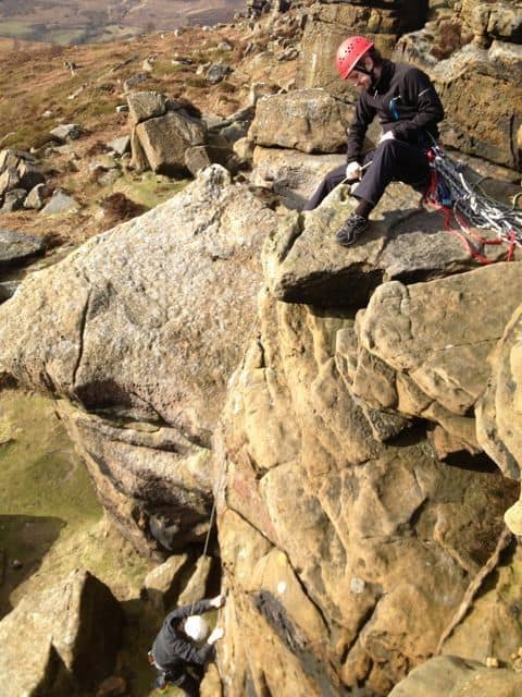 Rock climbing at Scugdale in North Yorkshire