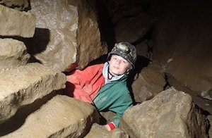 Trying caving