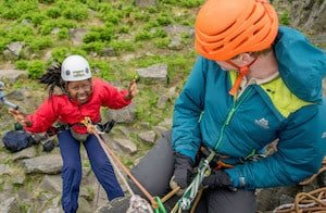 Kids take part in abseiling in Derbyshire