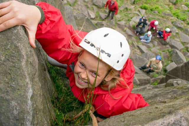 School-Group-Climbing-Outside-Peak-District