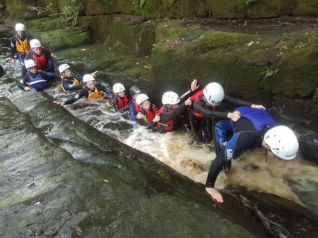 School-Group-Gorge-Scrambling-Eastern-Yorkshire-Dales
