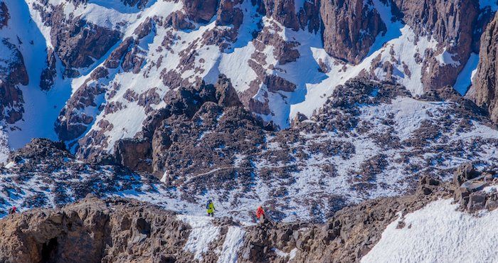 Climbers on the summit ridge of Toubkal