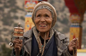 Tibetan villager on excursion