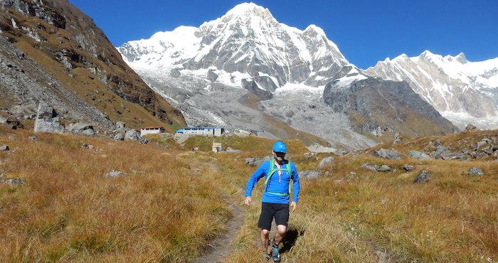 Trail runner, running through the mountains