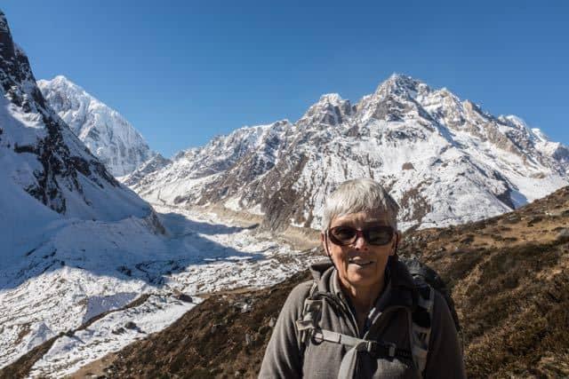 Trekker in the Mountains
