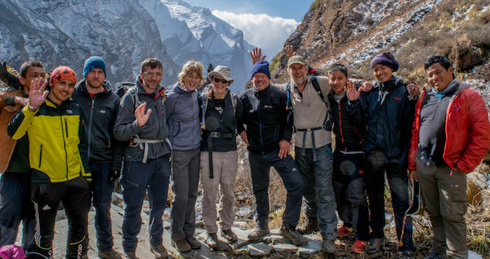 Group of trekkers in the Nepalese Himalaya