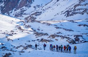 Group Walking Up Toubkal